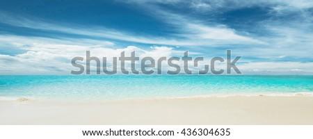 Sea morning panorama. Tropical horizontal composition - stock photo