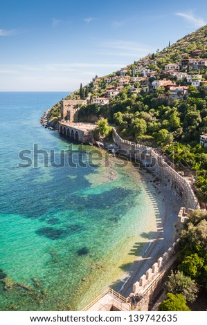 sea, mountain and old fortress in Alanya, Turkey - stock photo