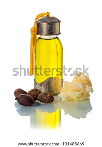 Sea nuts with shea oil and shea butter, used in cosmetics. White background. - stock photo