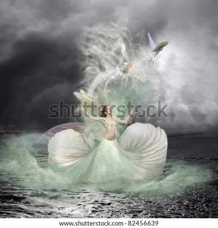 Sea nymph and water birds fairytale background - stock photo