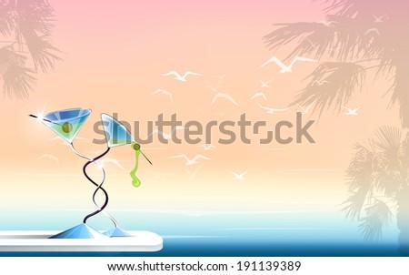 sea ocean seagulls palms holidays martini horizontal landscape raster version - stock photo
