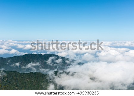 sea of clouds at jiugong mountain ,hubei province,China