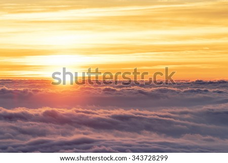 Sea of Clouds at Mt.Fuji during sunrise. - stock photo