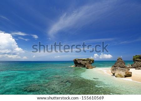 Sea of emerald green of the Okinawa. - stock photo