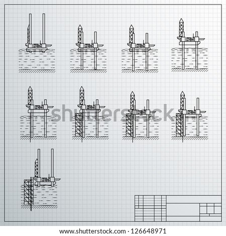 Sea Oil Rig Drilling Platform on Sketch Illustration. - stock photo