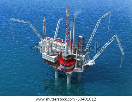 Sea Oil Rig Drilling Structure - stock photo