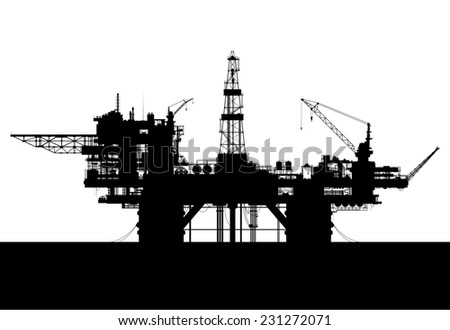 Sea oil rig. Oil platform in the sea isolated on white. Raster illustration. - stock photo