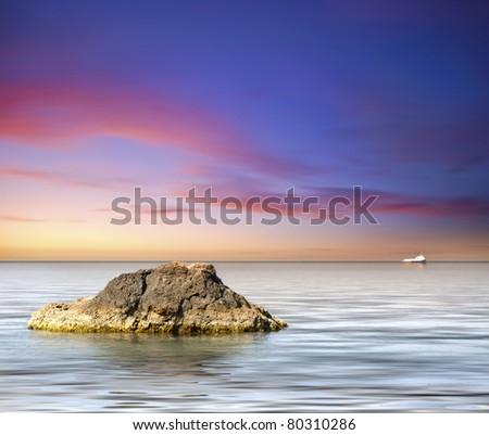 sea on sunset - stock photo