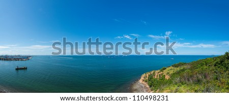Sea panorama with industrial container cargo freight ship - stock photo