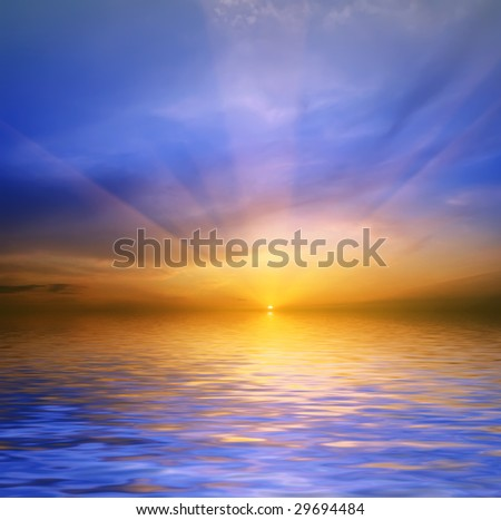 sea-piece on a background sunset - stock photo