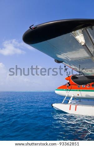 Sea plane at Maldives - transportation background - stock photo