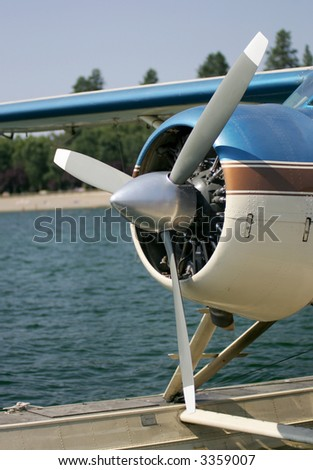 Sea plane ready to fly - stock photo