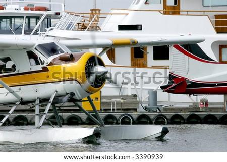 Sea plane taking off on Union Bay Lake, Seattle, USA - stock photo