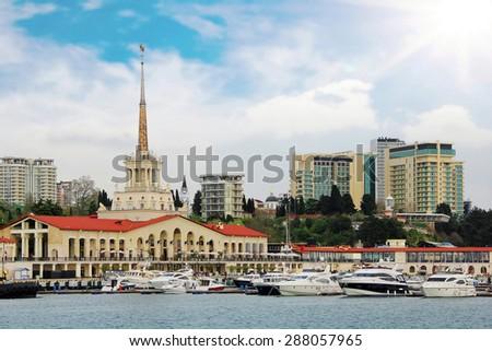 Sea port an marina in Sochi, Russia - stock photo