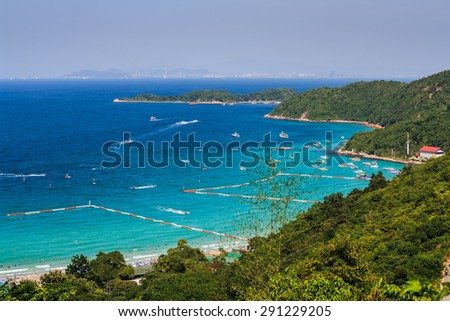 Sea port in the Valley and beautiful island , Koh lan in Pattaya City Thailand - stock photo