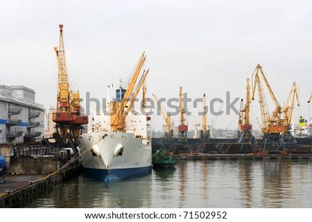 Sea Port of Odessa, Ukraine - stock photo