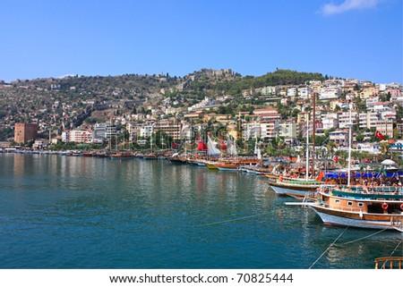 Sea port of Turkey - stock photo