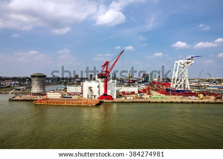 sea port, Rotterdam, container terminal, Netherlands - stock photo