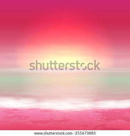 Sea purple sunset. Tropical background. - stock photo