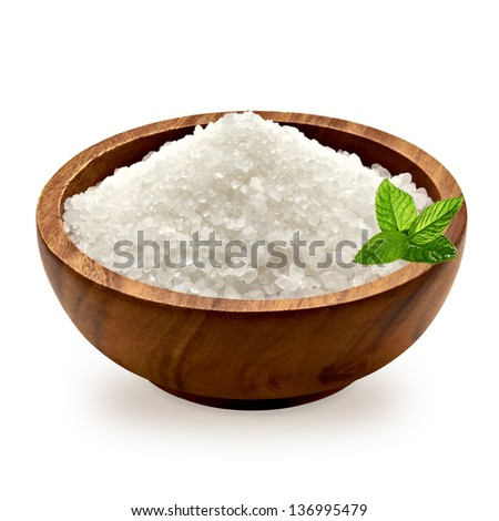 Sea salt and fresh mint in wooden bowl on white background with clipping path - stock photo