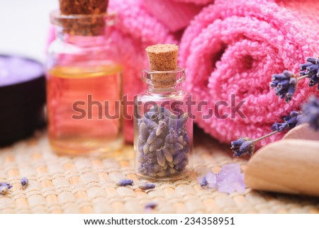 Sea salt and lavender. Spa concept - stock photo
