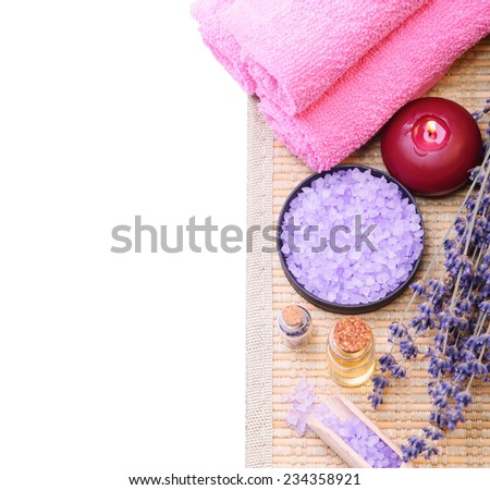 Sea salt and lavender. Spa concept isolated on white - stock photo
