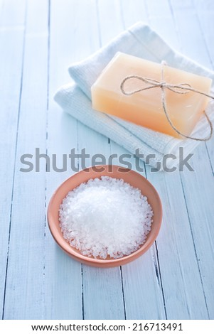 sea salt and soap - stock photo