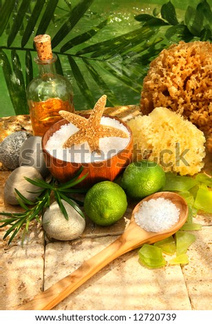 Sea salt and spa essentials for relaxing bath - stock photo