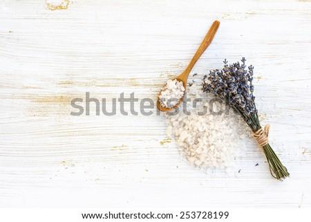 sea salt bath with lavender on the table - stock photo