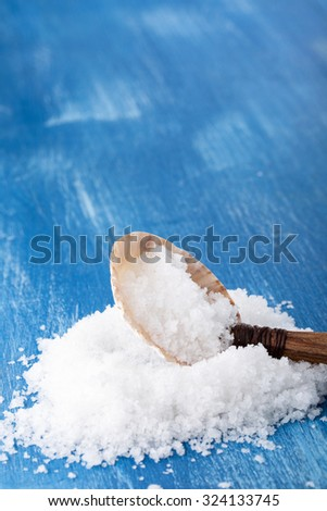 Sea salt ( flower of salt / fleur de sel ) in a spoon from seashell. Selective focus. Copy space. - stock photo