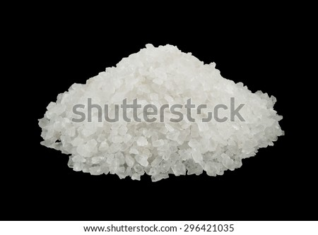Sea salt heap isolated on black background - stock photo