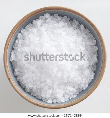 sea salt in a cup  - stock photo