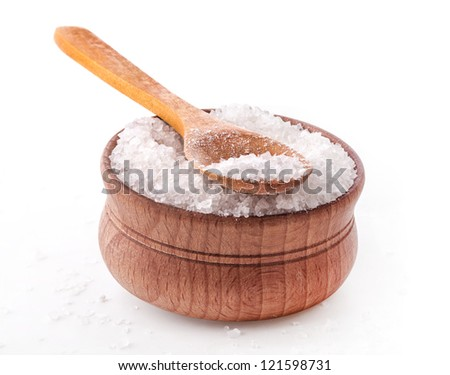 Sea Salt in a spoon and bowl isolated on white background - stock photo
