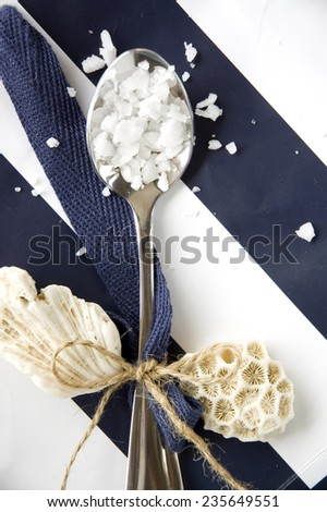 sea salt in spoon with shell on blue and white background