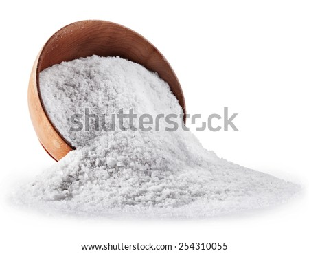 Sea salt in wooden bowl on white background. Clipping path - stock photo