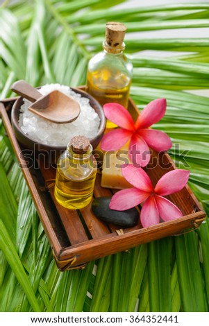 sea salt in wooden bowl with perfume,spoon on palm