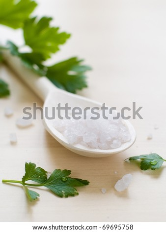 Sea salt in wooden spoon with parsley on background