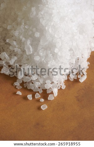 Sea salt made from the evaporation of seawater also called bay salt or solar salt - stock photo