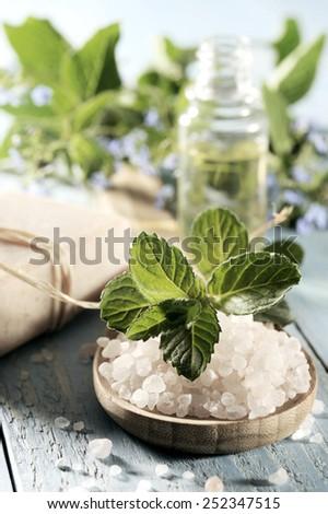 sea salt on a wooden background - stock photo