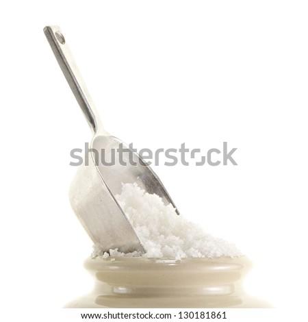 Sea Salt on the pot - stock photo