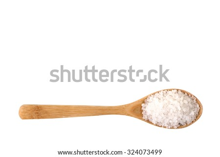 sea salt on wooden spoon isolated on white background - stock photo
