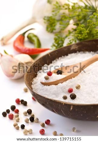 Sea salt, pepper, spices - stock photo