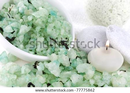 sea ??salt with green tea svechoyi stones - stock photo