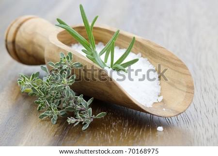 sea salt with herbs - stock photo