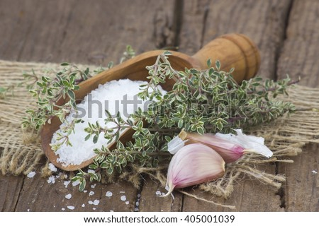 sea salt with herbs and garlic - stock photo