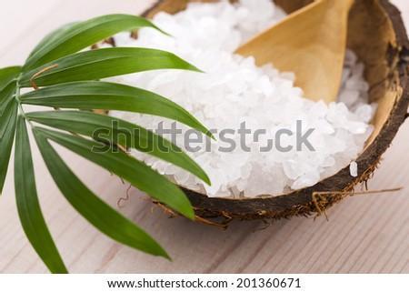 sea salt with palm leaf - stock photo