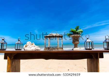 Sea Sand and blue sky with decorations