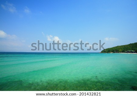 Sea sand and sky of Tropical beach in Pattaya, Thailand. - stock photo