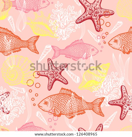 Sea seamless pattern. Original hand drawn illustration in vintage style. Raster version. Vector is also available in my gallery - stock photo