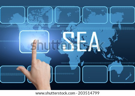 SEA - Search Engine Advertising concept with interface and world map on blue background